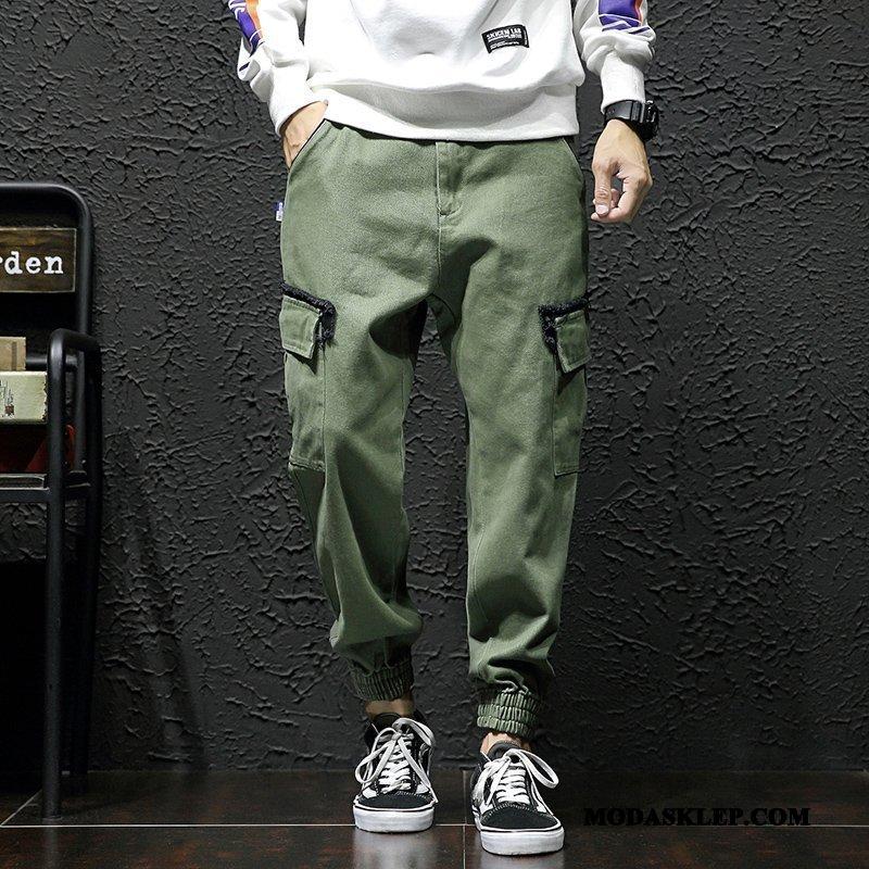 Męskie Spodnie Cargo Tanie Slim Fit Tendencja Zima Męska Młodzież Zielony