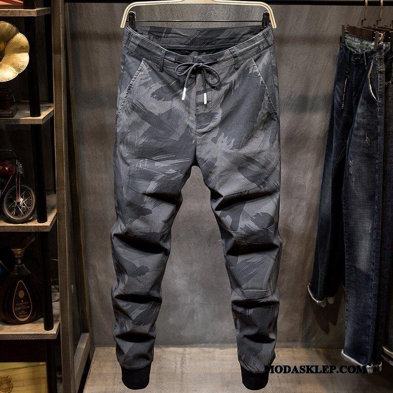 Męskie Spodnie Na Sprzedaż Męska Harlan Slim Fit Tendencja 2019 Kamuflaż Czarny