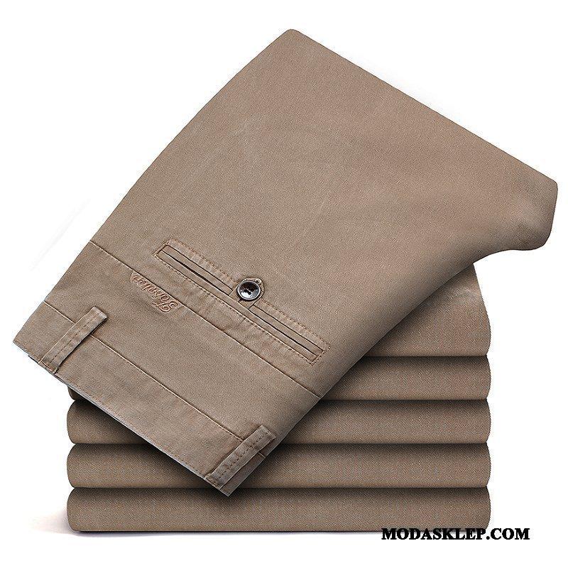 Męskie Spodnie Oferta Cienkie Męska Proste Biznes Elastyczne Khaki