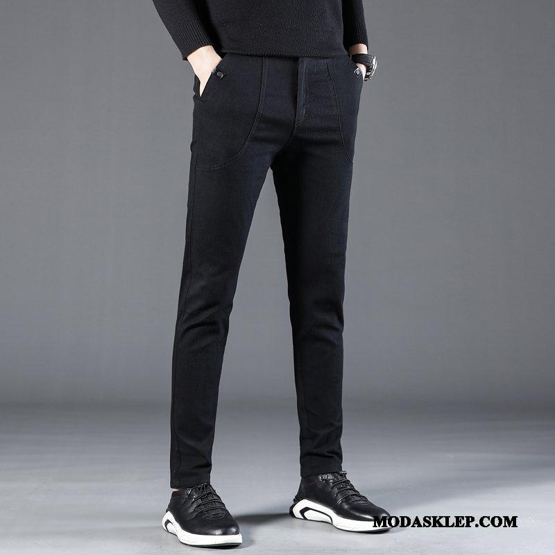 Męskie Spodnie Oferta Długie Plus Kaszmir Casualowe Spodnie Męska Czarny