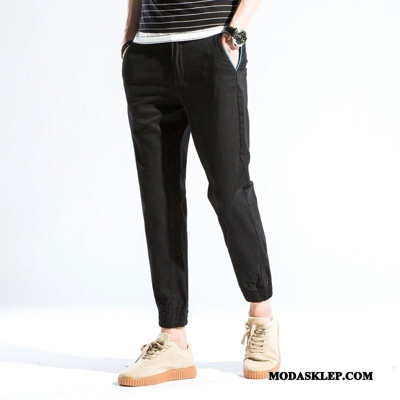 Męskie Spodnie Online Slim Fit Elastyczne Ołówkowe Spodnie Jesień Casualowe Spodnie Czarny