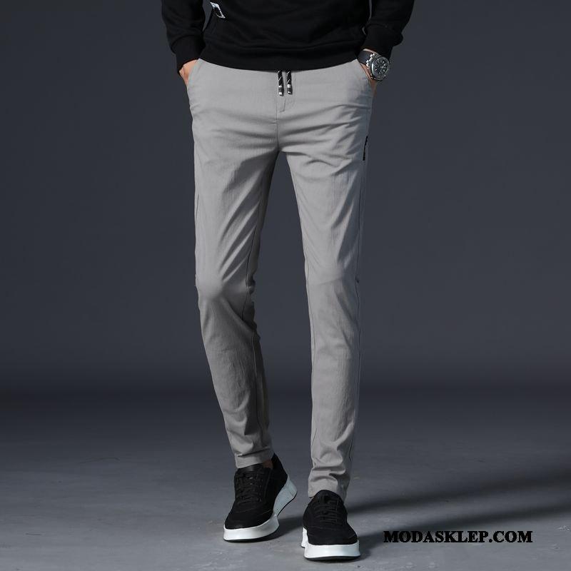 Męskie Spodnie Online Slim Fit Męska Tendencja Lato Ołówkowe Spodnie Szary Jasny