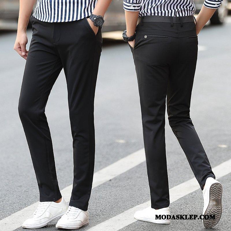 Męskie Spodnie Sklep Ołówkowe Spodnie Nowy Elastyczne Slim Fit Lato Czarny
