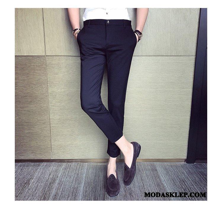 Męskie Spodnie Sklep Slim Fit Mały Lato Casualowe Spodnie Brytyjskie Czarny