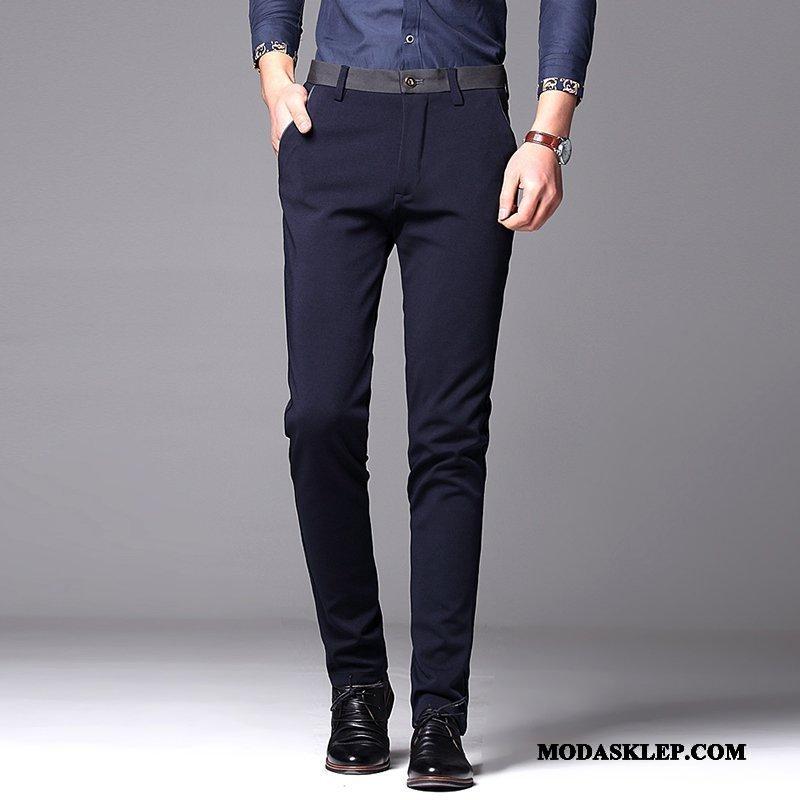 Męskie Spodnie Sprzedam Cienkie Długie Elastyczne Mały Proste Granatowy