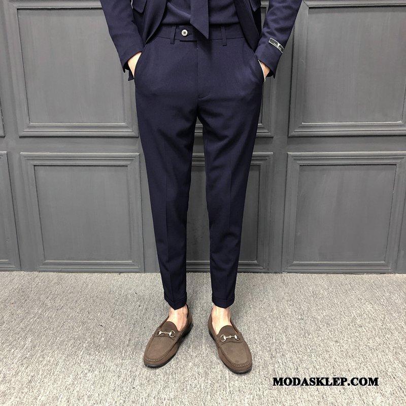 Męskie Spodnie Sprzedam Długie Tendencja Wiosna Ołówkowe Spodnie Męska Ciemno Niebieski Czysta Czarny