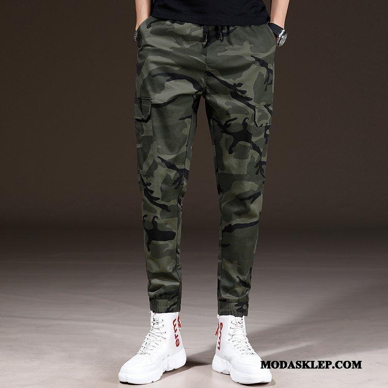 Męskie Spodnie Sprzedam Harlan Spodnie Cargo Slim Fit Mały Wiosna Kamuflaż Zielony