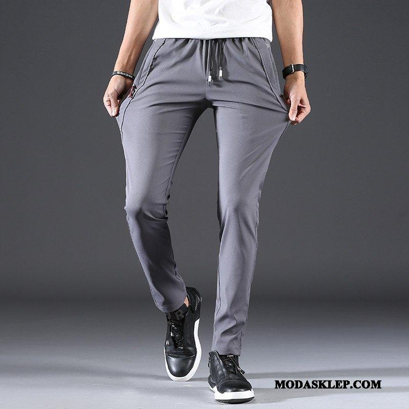 Męskie Spodnie Tanie Młodzież Elastyczne Slim Fit Szybkie Suszenie Cienkie Szary