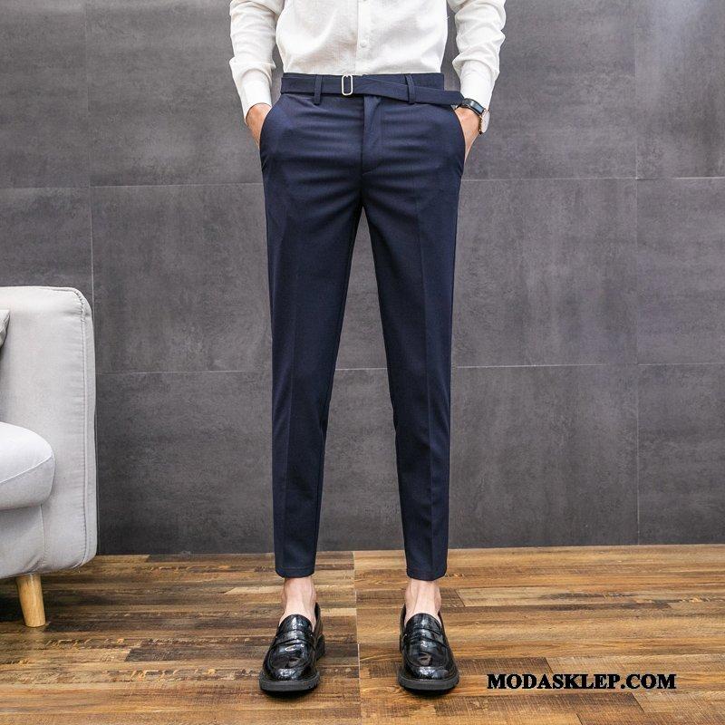 Męskie Spodnie Tanie Tendencja Slim Fit Mały Casualowe Spodnie Męska Niebieski