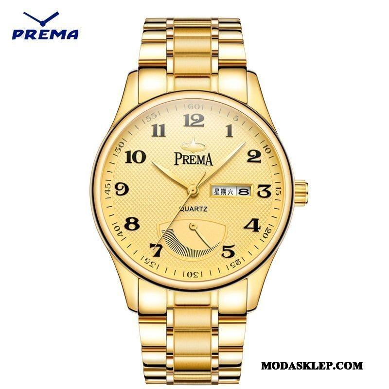Męskie Zegarek Na Rękę Kup Męska Moda Paski Wodoodporny Zegarek Kwarcowy Złoty