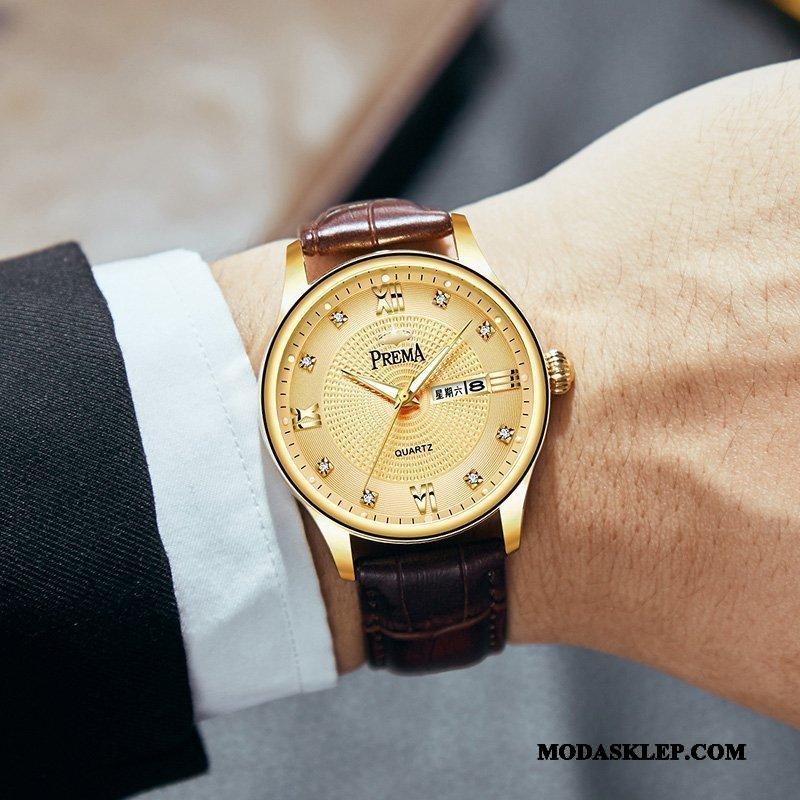 Męskie Zegarek Na Rękę Kup Paski Wodoodporny Prawdziwa Skóra Biznes Męska Złoty Brązowy