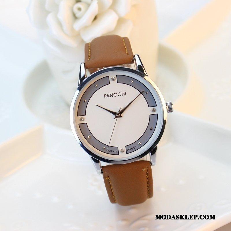 Męskie Zegarek Na Rękę Kup Student Zegarek Kwarcowy Moda Damska Oryginalne Brązowy