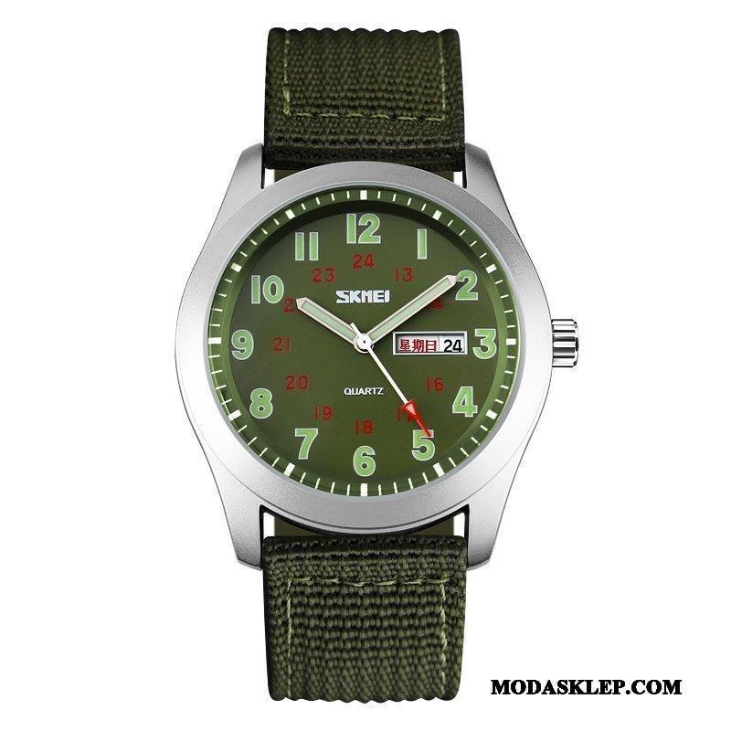 Męskie Zegarek Na Rękę Oferta Outdoor Męska Świecące Nylon Wodoodporny Beżowy Złoty Zielony