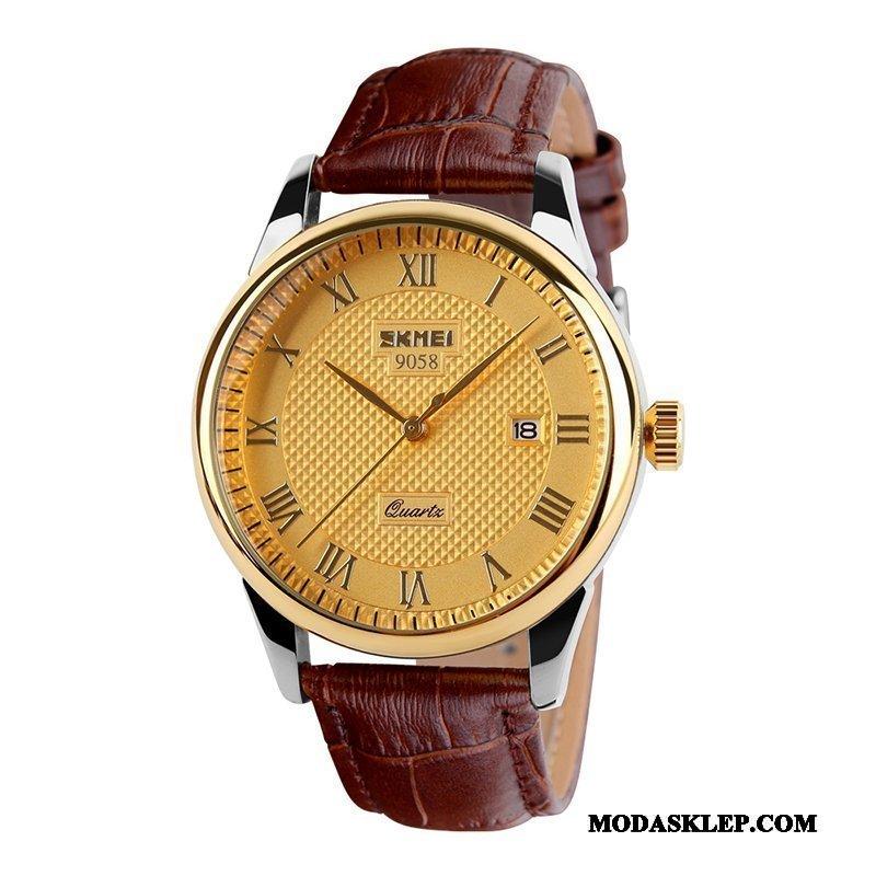 Męskie Zegarek Na Rękę Online Casual Prosty Męska Zegarek Kwarcowy Student Złoty Brązowy