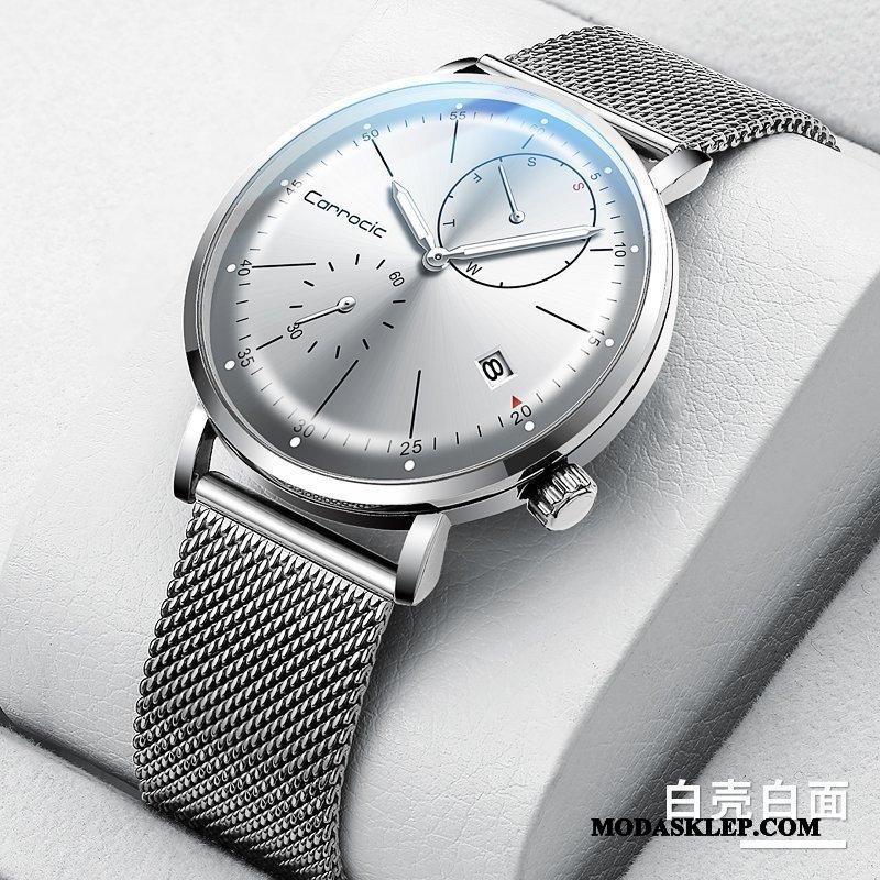 Męskie Zegarek Na Rękę Sklep Wodoodporny Nowy Zegarek Kwarcowy Moda Student Biały