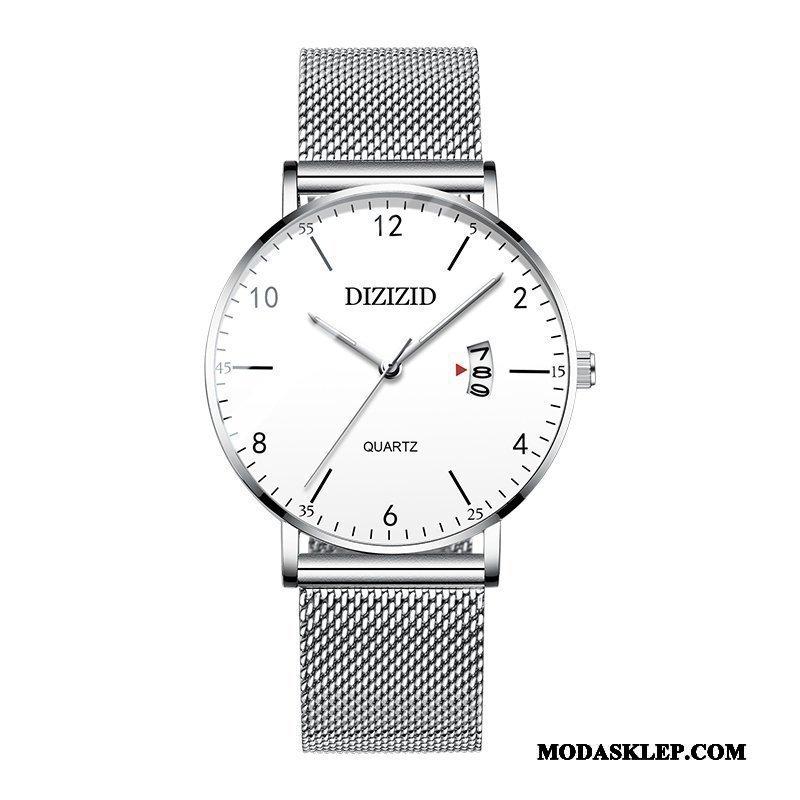 Męskie Zegarek Na Rękę Sprzedam Trendy Siatkowe Cienkie Męska Prosty Srebrny Biały Czerwony