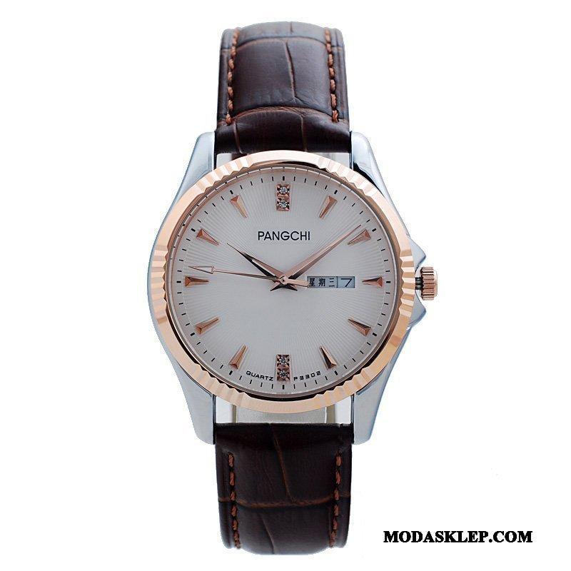 Męskie Zegarek Na Rękę Tanie Skóra Bydlęca Zegarek Kwarcowy Pasek Biznes Męska Biały Brązowy